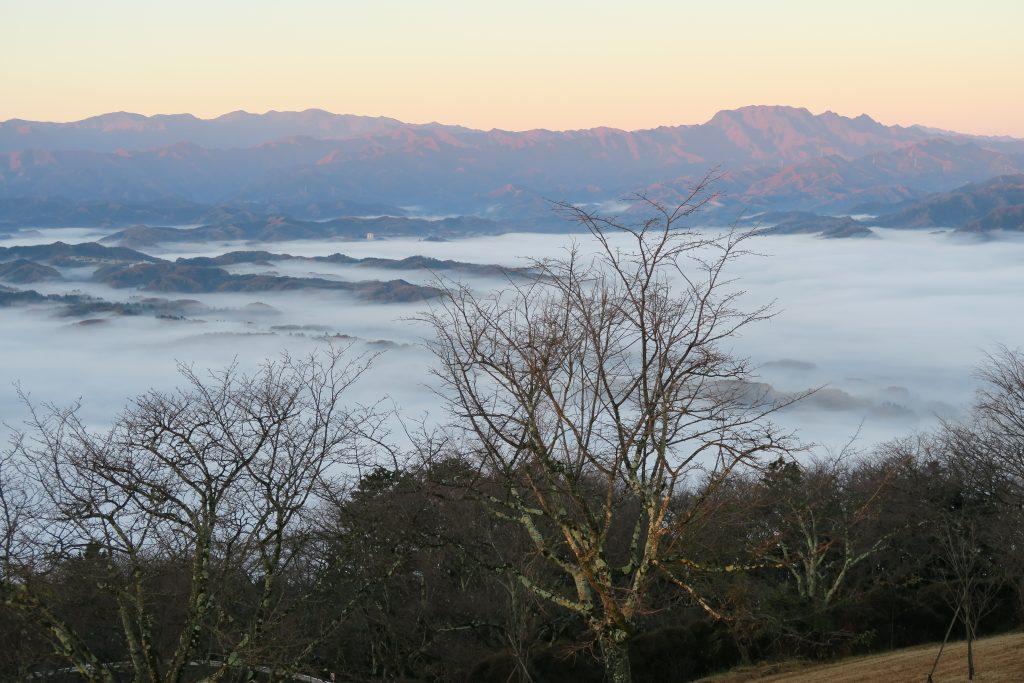 朝日を浴びる両神山と美の山の雲海