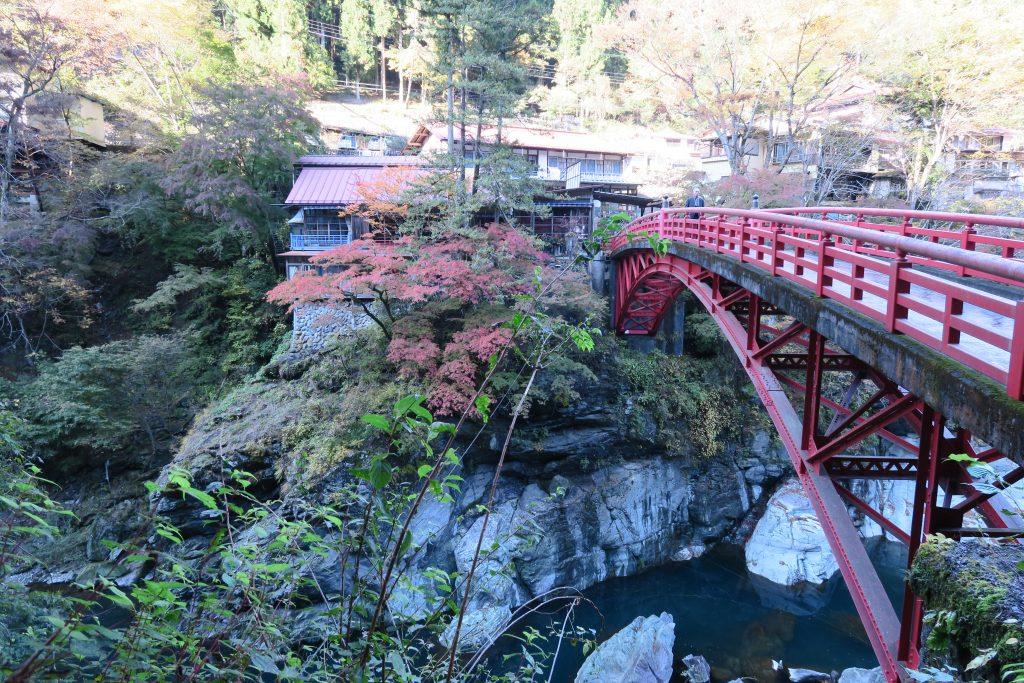 赤い橋と紅葉の様子