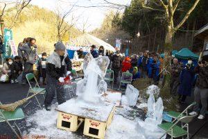 2017尾ノ内交流会 氷の彫刻作り 電動ノコギリ